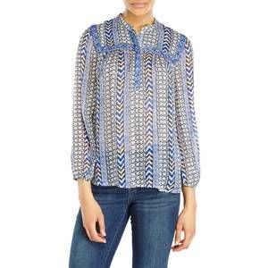 Lucky Brand Blue Mixed Print Beaded Peasant Top